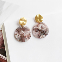 Temperament joker acetate plate round earrings big fashion 2018 summer jewelry