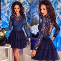Royal Blue robe de Long Sleeves Cocktail Dresses A Line Scoop Backless Illusion Sheer Short Party Gowns