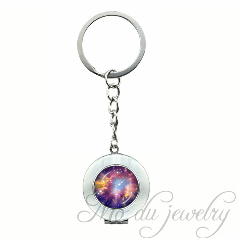 Astronomy Cosmic Keychain Galaxy Jewelry Nebula Glass Cabochon Pendant Space Key Chains Accessories Wonderful Gift For Women Men Jewelry & Accessories Key Chains