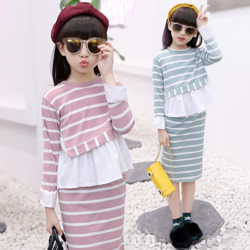 Kids Clothes Children Autumn Clothing Girls Outfits Long Sleeve Dressy Tops+Pencil Skirts 2PCS Suits Casual Suit Sweet Style 0
