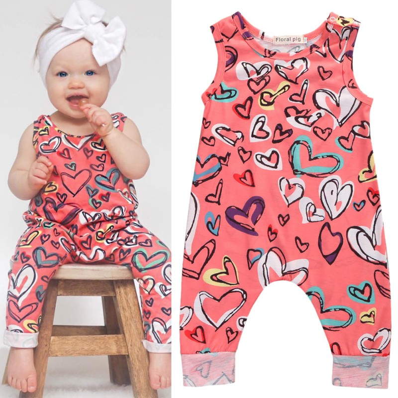 Summer Baby Toddler Kids Girls Romper Sleeveless Romper Floral Sunsuit Outfit Clothes 0-24