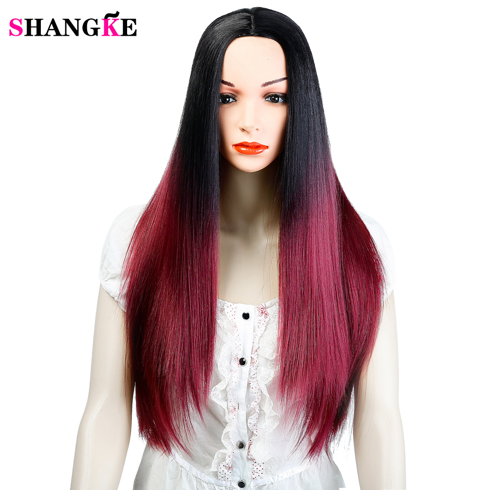 SHANGK To Red Hair Straight Long Wigs Synthetic Hair Heat ...