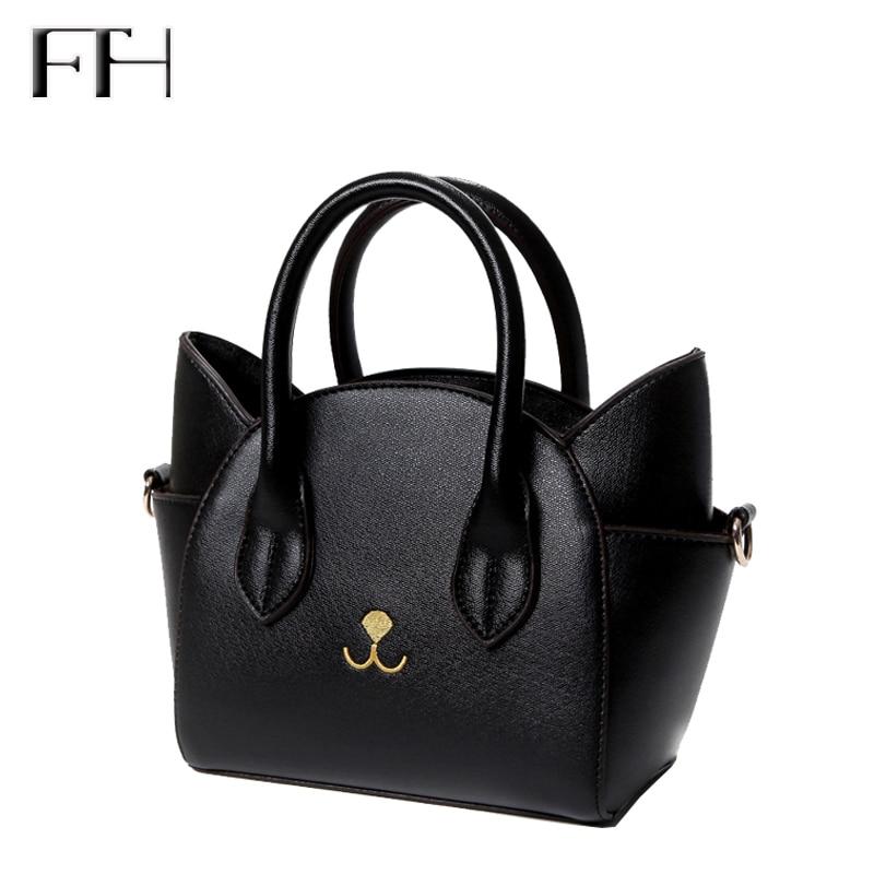 Famous Design lovely women s leather top handle shoulder bags female cute Cat Messenger handbags lady