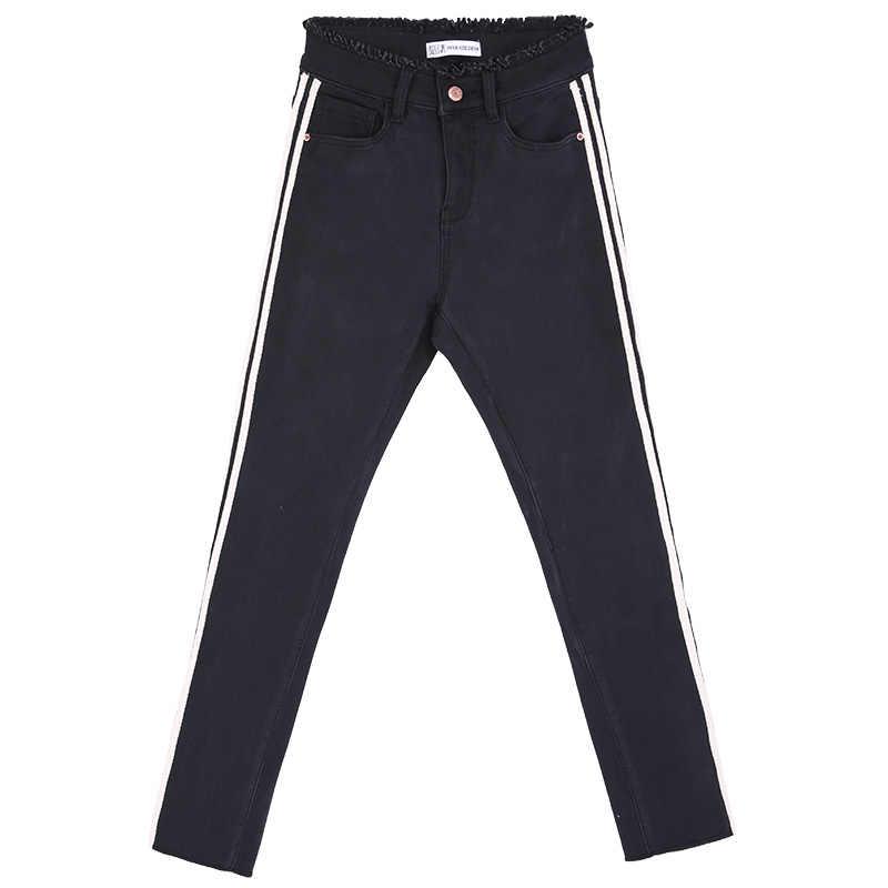 4d224e95843 ... LEIJIJEANS 2018 зимние Утепленные черные джинсы с кисточками и высокой  талией боковые полосы плюс размер XL