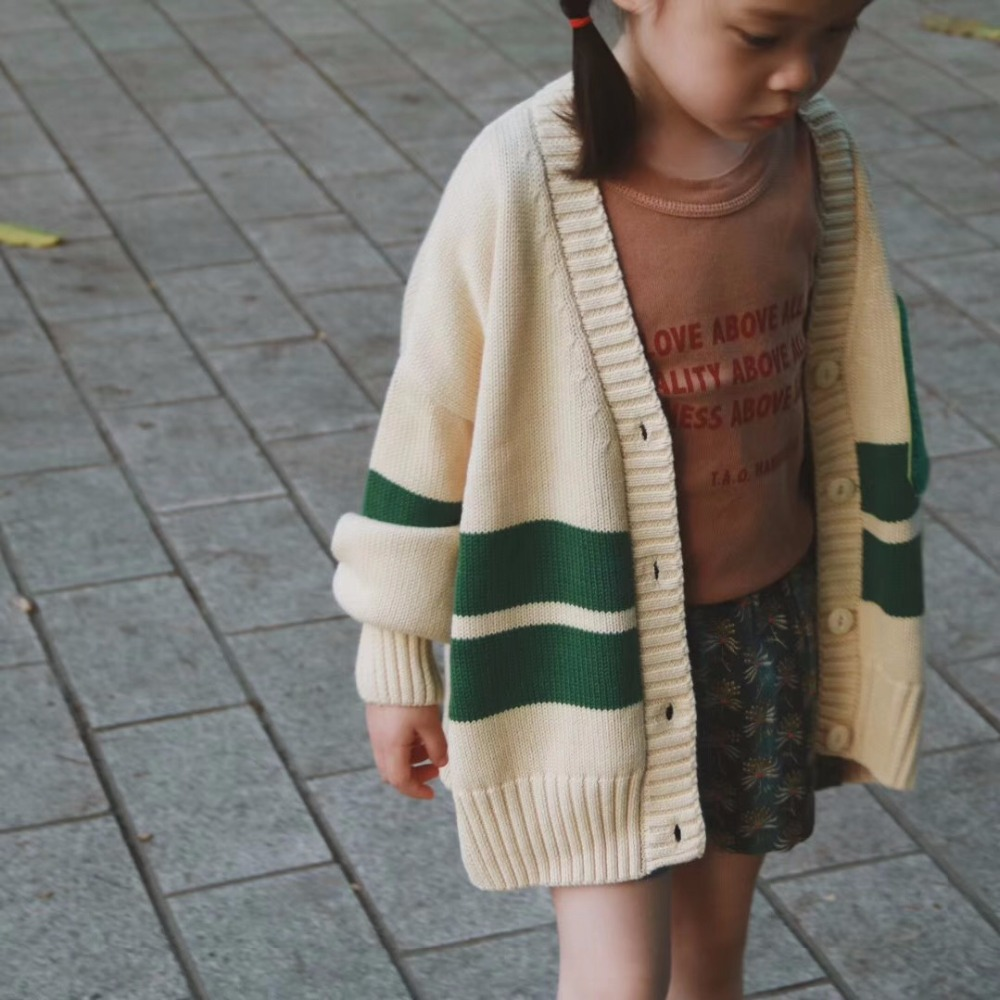 Spring Autumn Boys Girl Cardigan Kids Baby Knitted Sweater Green Striped Girls Sweater lace up ribbed striped sweater