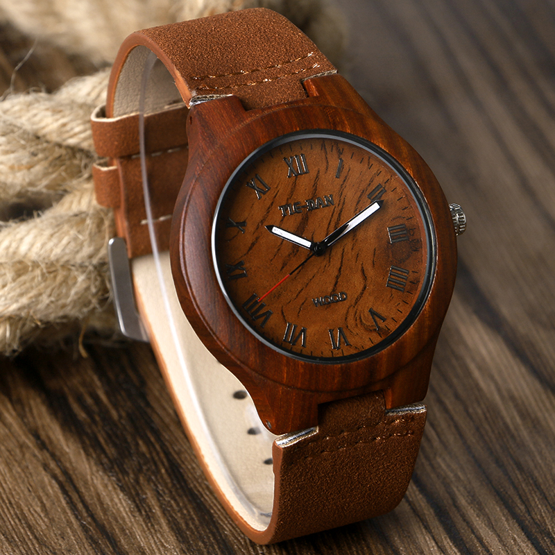 Novel Women Men Quartz Wrist Watch Bamboo Genuine Leather Strap Roman Numbers Nature Wood Case Design Fashion Watches Gift