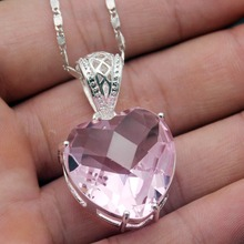 925 Sterling Silver Glorious Love Heart Purple Amethyst Necklace Pendant 1 1/2