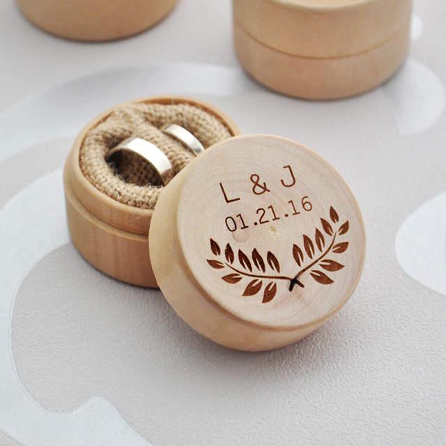 Online Shop Custom Rustic Wedding Ring Box Personalized Wedding