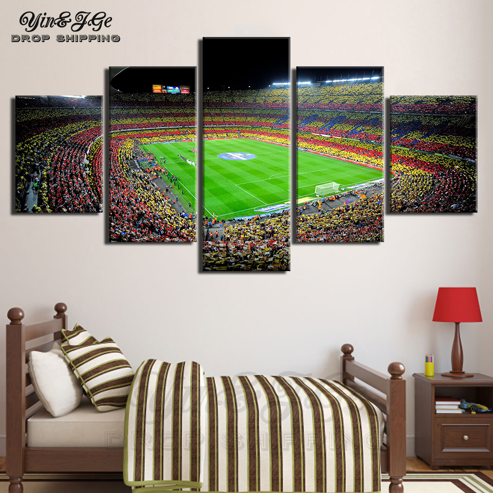 Modular Picture Artworks 5 Pieces Canvas Art Spain Fc Barcelona Painting Hd Print Sports Football Posters Home Decor Wall Framed
