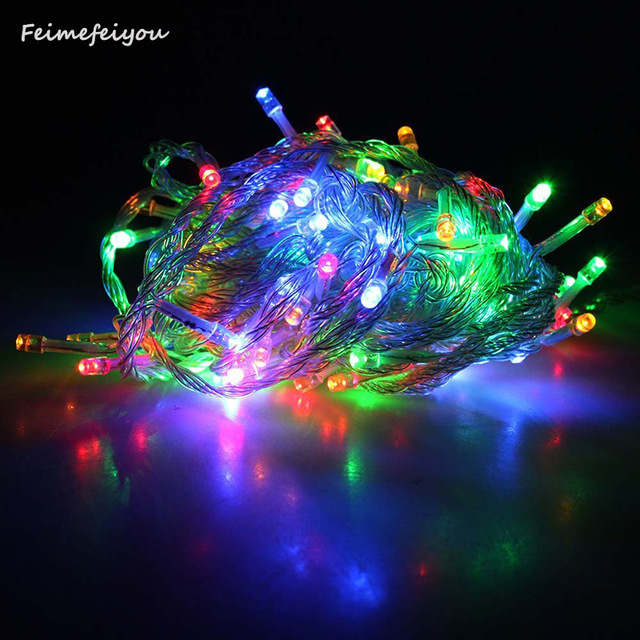 Lights & Lighting Modest Feimefeiyou Ac 220v Waterproof 10m 100led String Lights Christmas Festival Wedding Party Decoration Garland Strip With Eu Plug To Have A Unique National Style