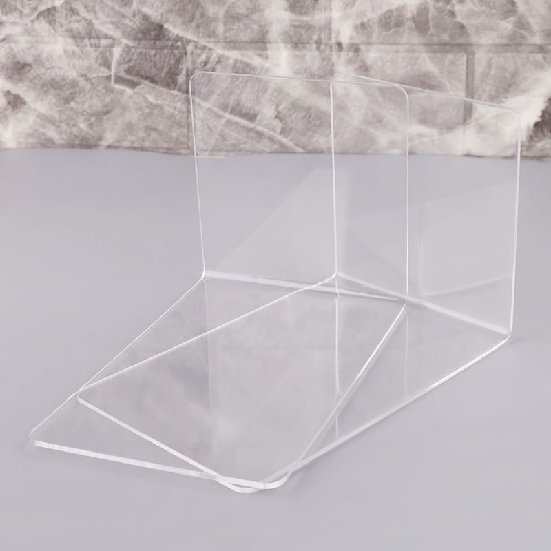 2Pcs Clear Acrylic Bookends L-shaped Desk Organizer Desktop Book Holder School Stationery Office Supplies 10166