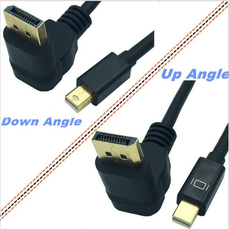 Mini DisplayPort 90 Degree Up & Down & Left & Right Angle Male To DisplayPort Male Video Cable Adapter 0.3M