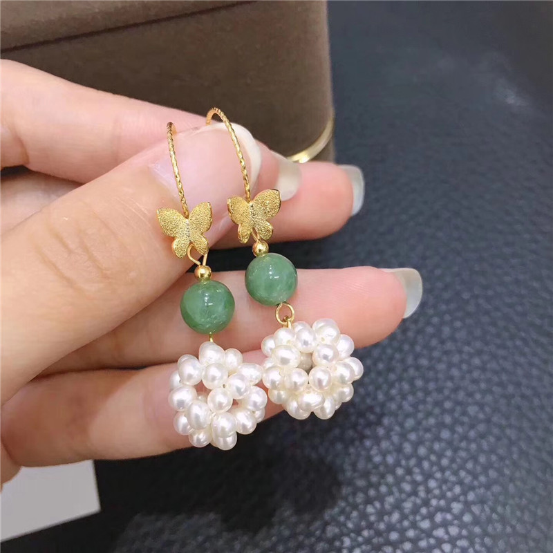 New Personality Hand-Woven Design Gold-Filled High Quality Natural Freshwater Pearl Earrings For Women Drop Earrings Boucle metal hand design drop earrings