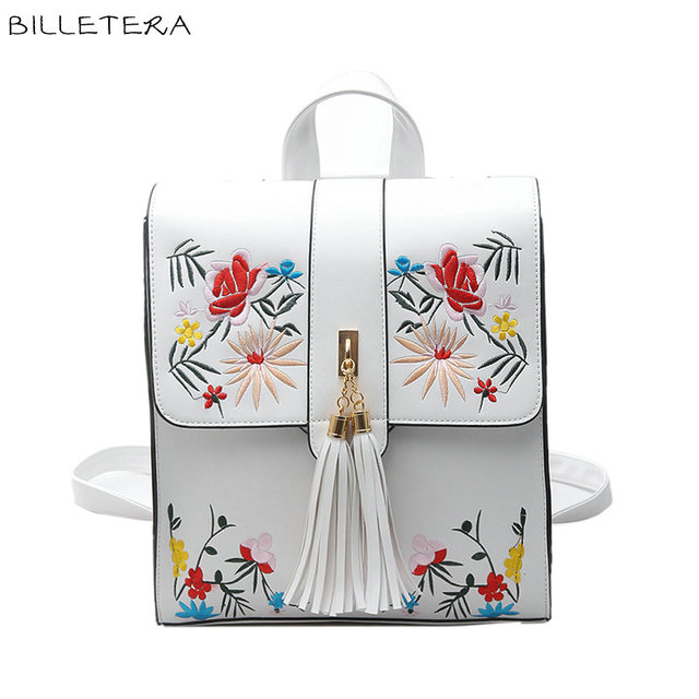 BILLETERA Fashion Women Backpack PU Women's Shoulder Bag Floral Schoolbag Backpack for Girls HOUSHAN92