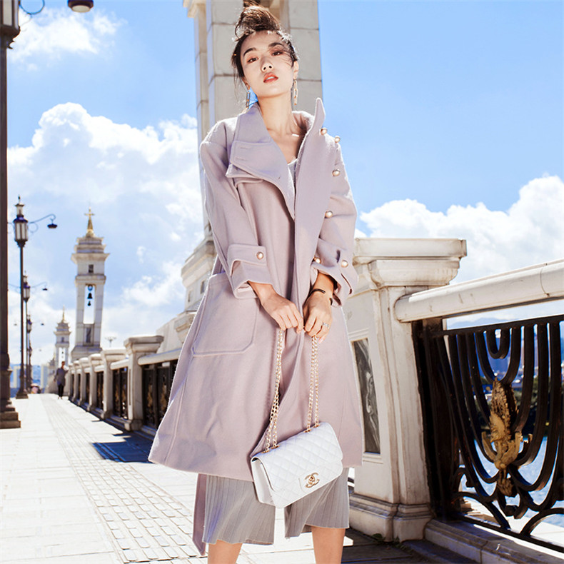High Quality Explosions Leisure patchwork sashes full wool matching Dresses Women Winter Casual Dress