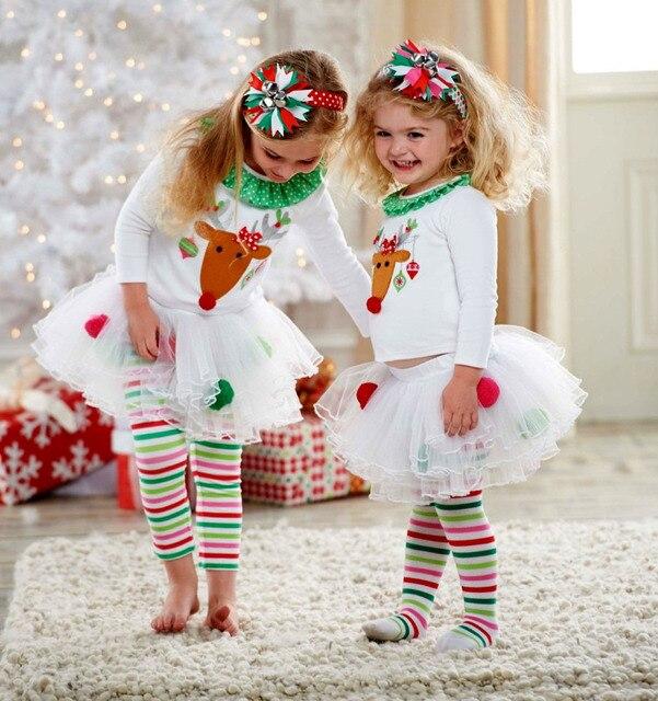 Новые рождественские комплекты одежды для маленьких девочек топ с рисунком оленя для маленьких девочек и тюлевая юбка-пачка с полосатыми штанами тренировочный костюм комплект рождество