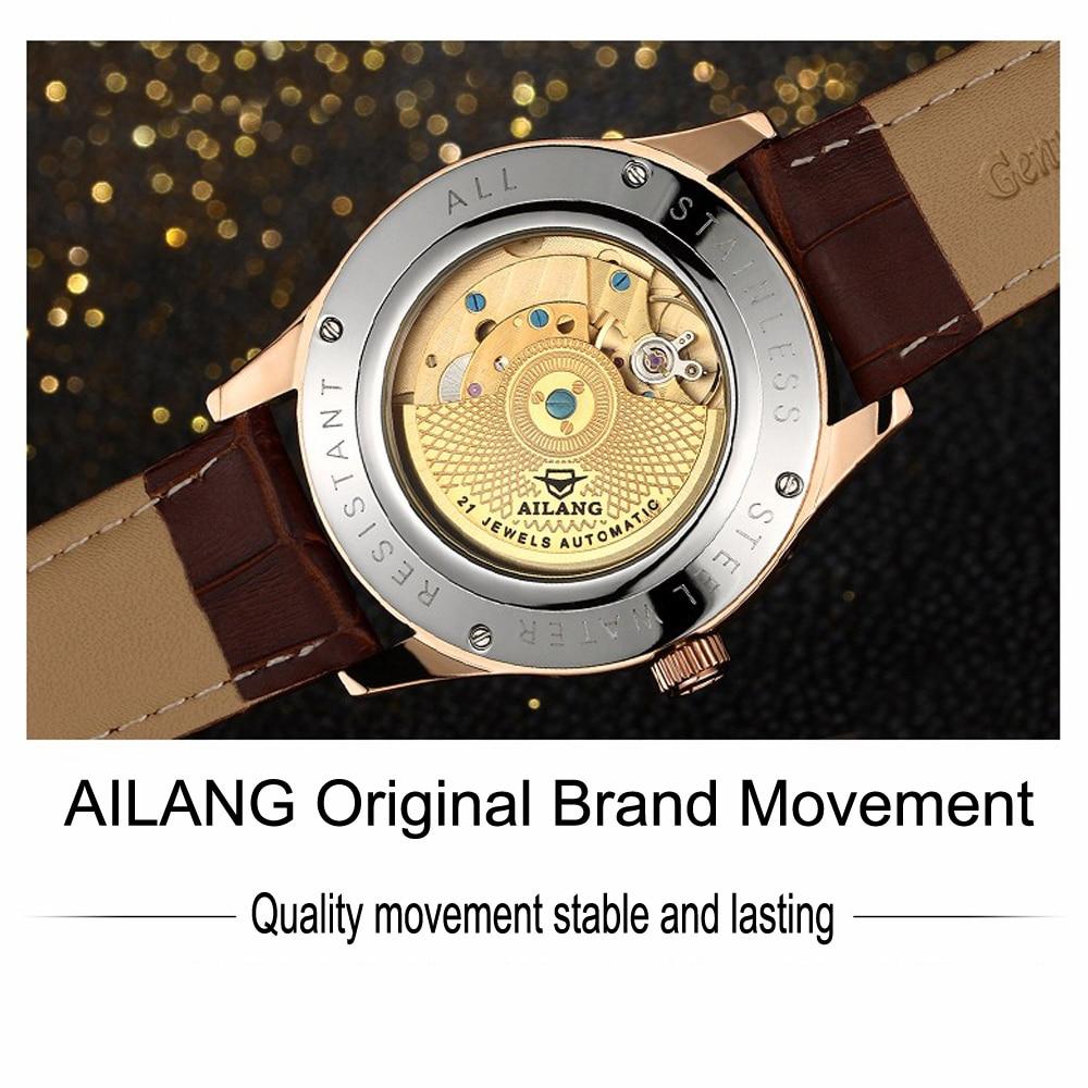AILANG 기계식 시계 남성 정품 가죽 시계 달력 방수 - 남성 시계 - 사진 3