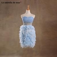 Vestidos коктель mujer 2018 sexy Милая линии светло голубой Цвет шифон перо коктейльные платья Короткие Элегантный халат de коктейльное