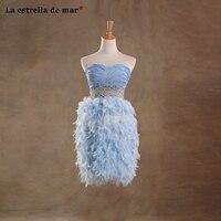 Vestidos coctel mujer 2019 Сексуальное Милое ТРАПЕЦИЕВИДНОЕ светло голубой шифон платье с цветными перьями снизу и черным верхом короткое элегантное ж