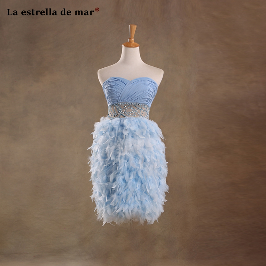 Vestidos coctel mujer 2019 sexy sweetheart a Line light blue chiffon feather   cocktail     dresses   short elegant robe de   cocktail