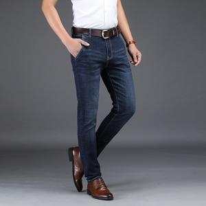 Image 2 - NIGRITY 2020 Mens ג ינס עסקי מזדמן ישר לחתוך שחור & כחול ג ינס למתוח ג ינס מכנסיים מכנסיים קלאסי בתוספת גודל גדול 28 42