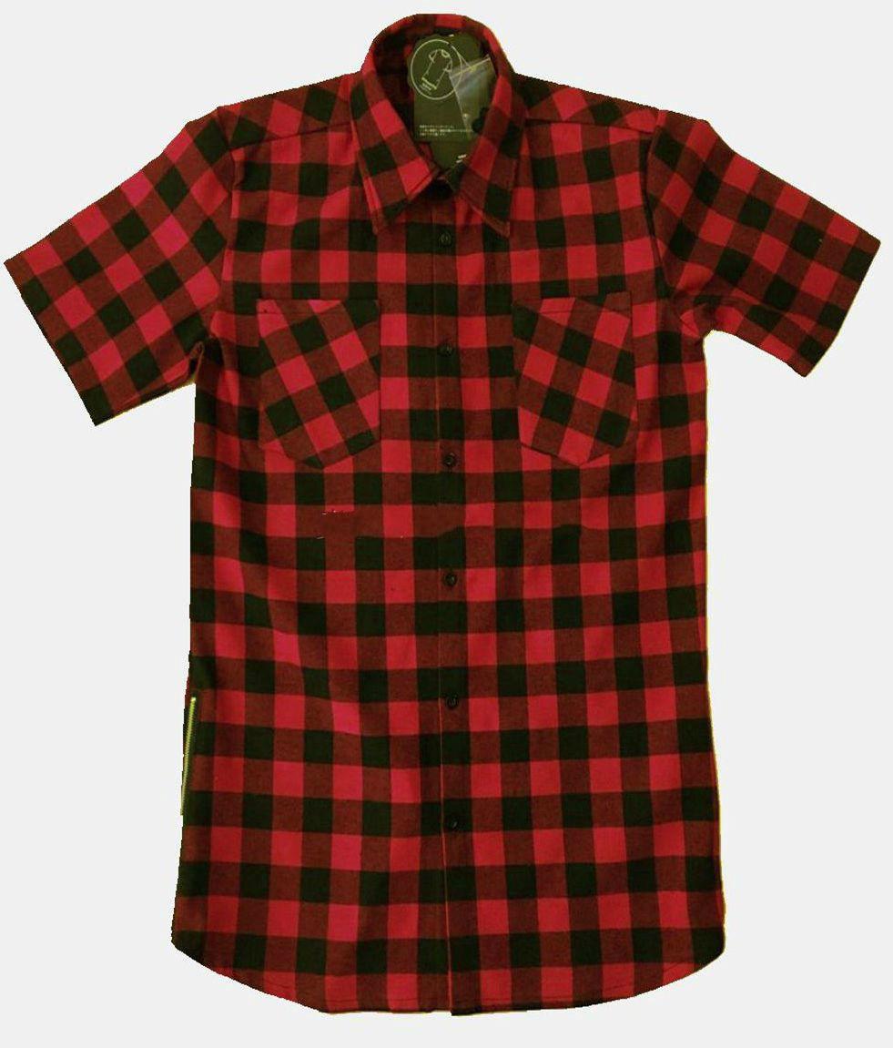 2018 Nyári Új Férfi Ruházat Fekete Piros Plaid Fashion - Férfi ruházat