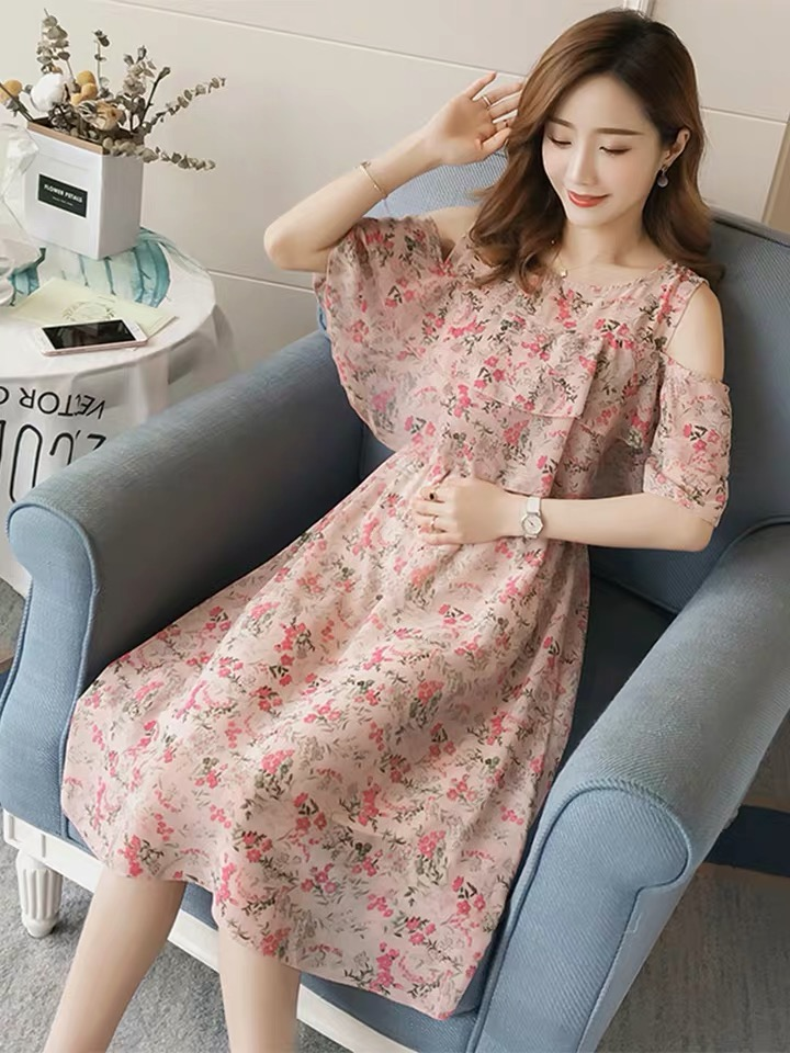 Pregnant Nursing Dress Off Shoulder print Maternity Breastfeeding Dresses For Photo Shoot Chiffon Maternity Dress Party Clothes 59