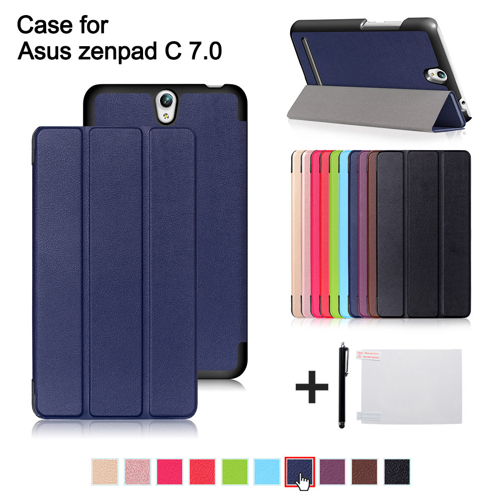 Case for Asus Zenpad C 7.0 Z171KG 7 2017 Slim Magnetic Folding Cover PU Leather Case for Asus Zenpad C Z171 7 inch tablet +gift stand cover for asus zenpad 3s 10 9 7 inch z500m c1 gr tablet leather smart case with triple folding magnetic auto sleep awake