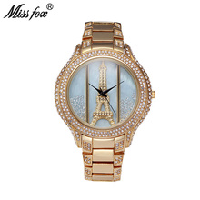 Miss Fox Eiffel Tower Woman Watches 2017 Brand Luxury Gold Big Luxurious Ladies Watch With Rhinestones Relogio Feminino Dourado