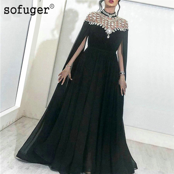 Black Chiffon Beads Evening Dresses Turkish Pageant Gowns Dubai Long Prom Dress Robe De Soiree Party Dress