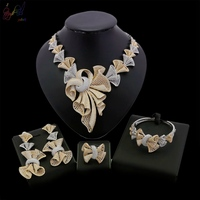 Yulaili Wholesale African Women American Jewelry Sets Gold Rhinestone Costume Necklace Earrings Ring Bracelet Free Shipping
