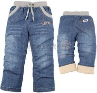 Retail Winter Children Boys And Girls Plus Velvet Jeans Free Shipping In Stock