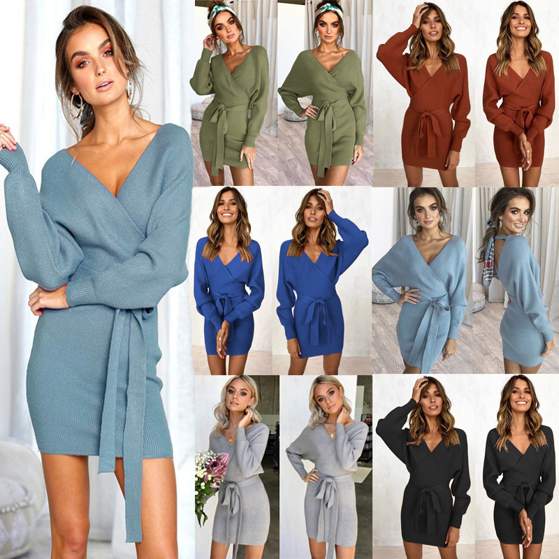 Hot Selling 2018 Autumn And Winter Sexy <font><b>Belt</b></font> Dress V-Neck Package Hip Dress Long Sleeve Womens Dress image