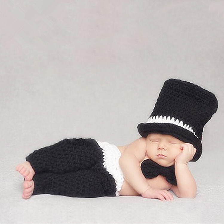 Newborn Photography Props Baby Boy Accessories Knitted Crochet Costume Baby Girl Knit Hat+Pants Set Baby Photo Props Accessory