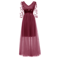Elegant Dark Red Long Women Junior Party Dress V Neck Appliques Lace Formal Women Ladies See Through Casual Tulle Maxi Dresses