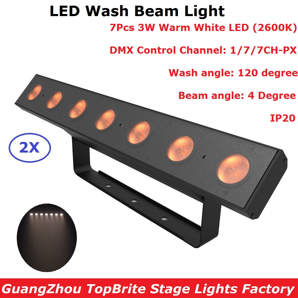 2Pcs/Lot LED Bar Beam Light 2600K Warm White 7X3W LED Wall Wash Lights Perfect For Stage Party Wedding Discos Events Lighting