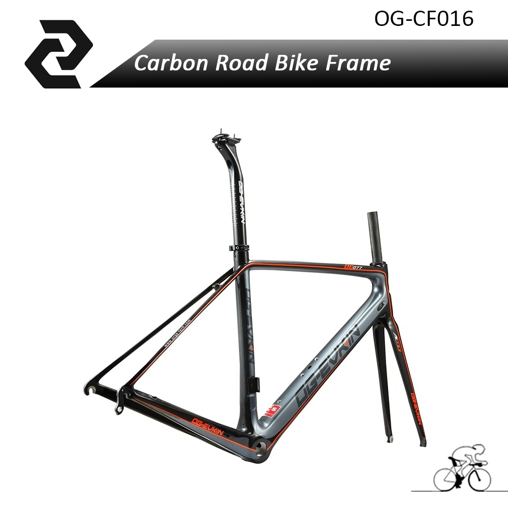 Chinese OG-EVKIN Cool Orange Carbon Fiber Road Bike Frame Di2 3K Glossy BSA/PF30 Light Weight Sport Cycling Bicycle Frame Parts inova sts bike light orange