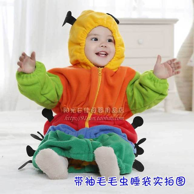 Free shipping. Caterpillar type pea cartoon  baby sleeping bags thicker anti-kick quilt newborn children with sleeves