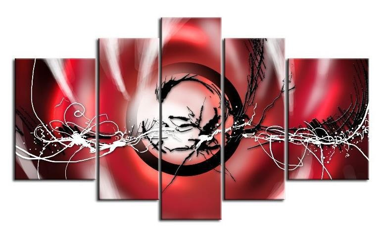 Free shipping! Hand-painted black white fly lines red abstract Oil Painting canvas wall art 5 pcs/set  wall art set of 9 | Contemporary Metal Wall Art – Set of 9 Made out of Aluminum Free shipping Hand painted black white fly lines red abstract Oil Painting canvas font b wall