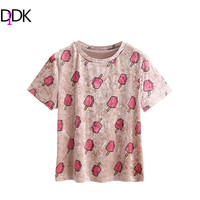 DIDK Woman S Fashion 2017 Summer T Shirts Pink Allover Popsicle Print Short Sleeve Velvet Tee