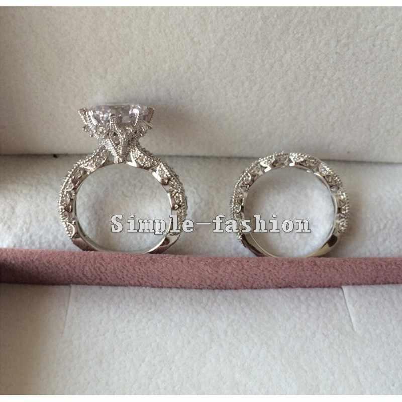 2016 Брендовое дизайнерское Винтажное кольцо с круглой огранкой 3ct 5A Циркон Cz стерлингового серебра 925 Обручальное кольцо для женщин
