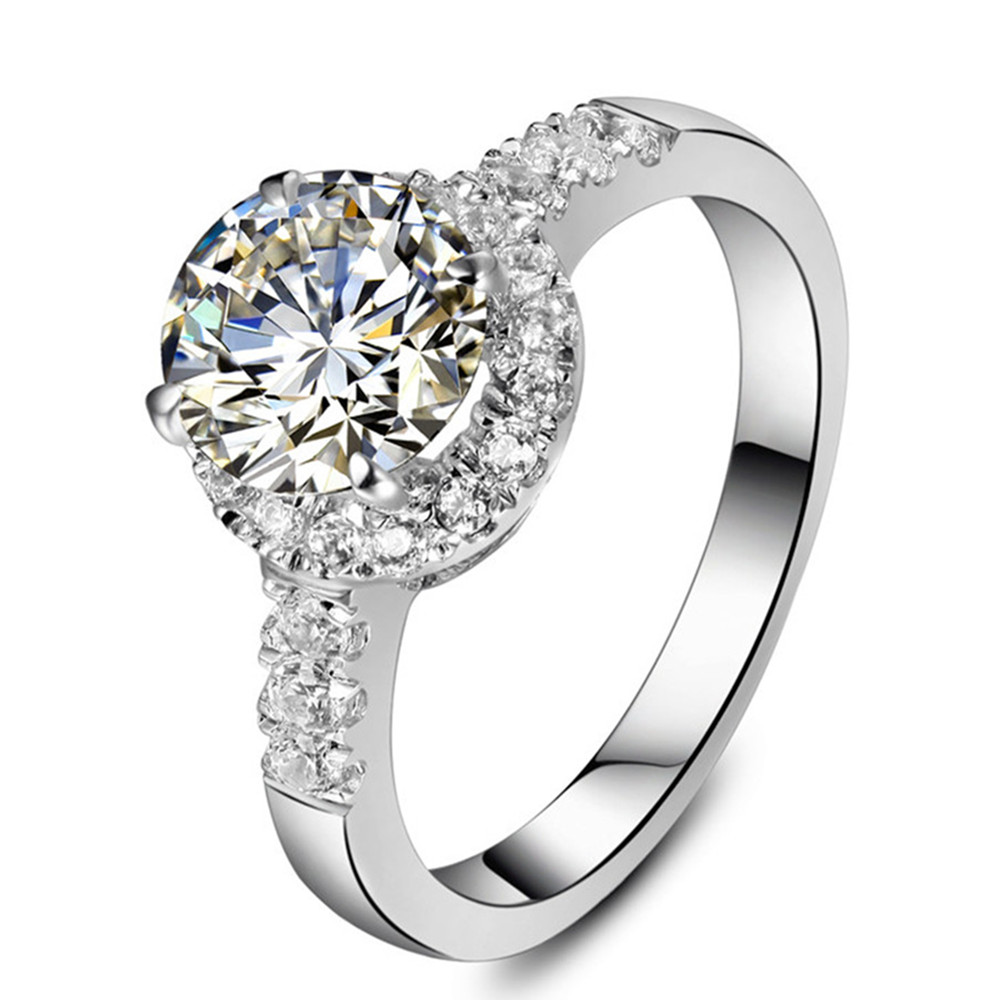 Promotion Jewelry Wholesale Excellent Round Halo 2ct Sona Marriage Diamond  Ring Engagement Ring Sterling Silver Ring