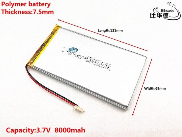 Buon Qulity 3.7 V, 8000 mAH, 7565121 Polimero agli ioni di litio/batteria Li Ion per il GIOCATTOLO, BANCA di POTERE, GPS, mp3, mp4