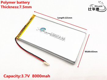 Good Qulity 3.7V,8000mAH,7565121 Polymer lithium ion / Li-ion battery for TOY,POWER BANK,GPS,mp3,mp4 недорого
