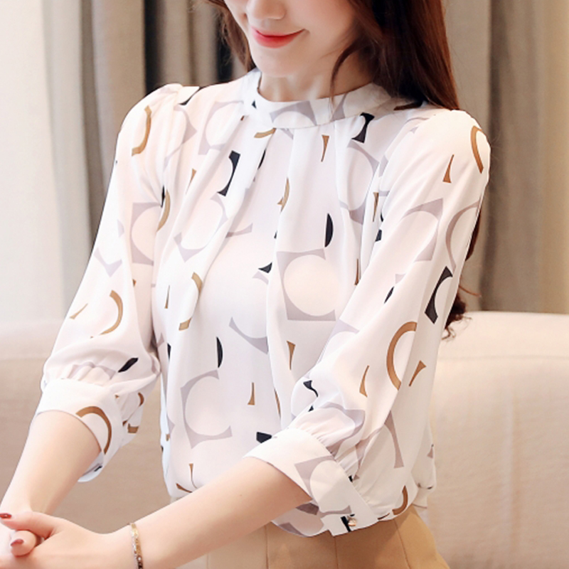 women Clothing 2019 Spring New Seven-quarter sleeve printed chiffon   blouse     shirt   female women tops Flower   Shirt   blusas 204E