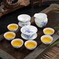 Blue and white porcelain Kung Fu Tea Set Dehua GaiWan white porcelain set Cover bowl Ceramic Teapos Teacups Gift Tea Set