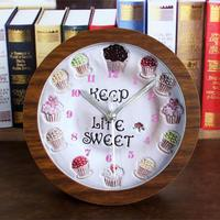 Rural Wood Board Alarm Clock Ice Cream Cake Vintage Table Clock Battery