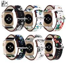 Leather Watch Band for Apple 38mm 42mm Series 1 2 3 Flower Strap Floral Prints Wrist Bracelet I212.