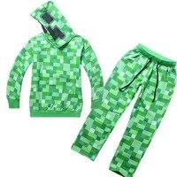 Minecraft Teen ליל כל הקדושים תלבושות נערי ילדי סתיו חליפת סווטשירט קפוצ 'ון עם הרוכסן מצחיק ירוק לילדים תחפושות creeper