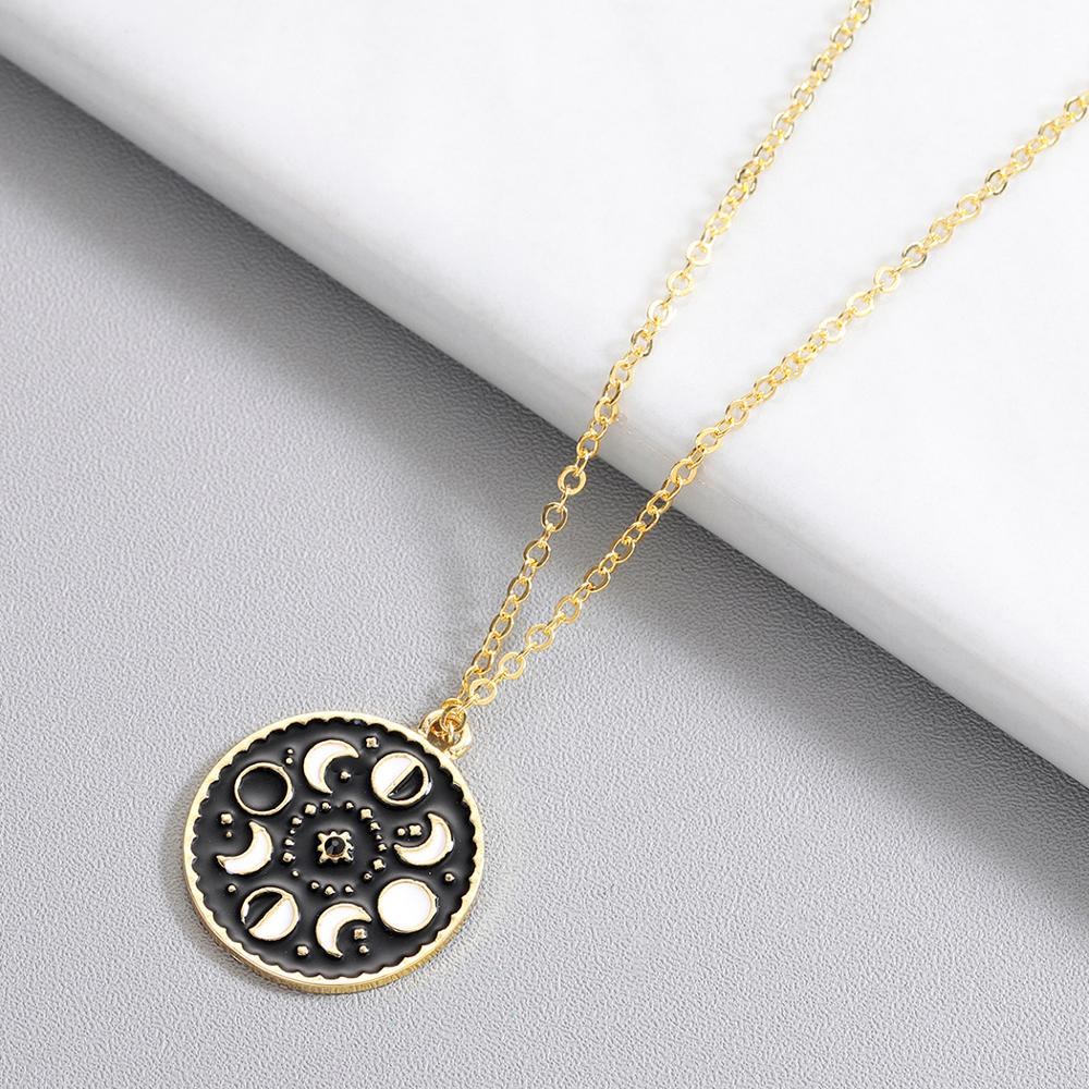 Chandler Moon Phase Necklace Galaxy Chocker Necklaces For Women Black Enamel Vintage Rouind Pendant Moon Crecent Charm Chokers